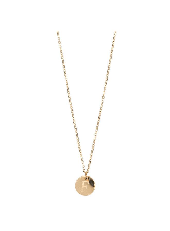 Jozemiek ketting met letter F stainless steel, 14k goud plating met gratis maandsteen