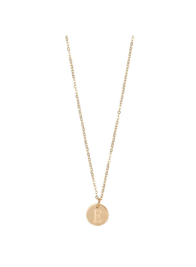 Jozemiek ketting met letter E stainless steel, 14k goud plating met gratis maandsteen