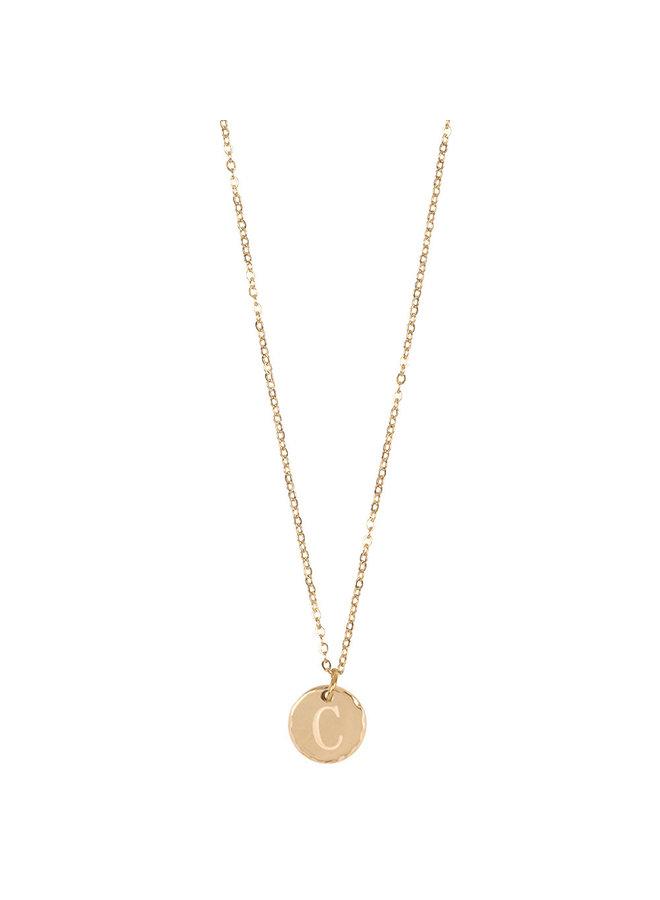 Jozemiek Halskette mit Edelstahl Buchstabe C, 14 Karat Vergoldung mit freiem Monatsstein