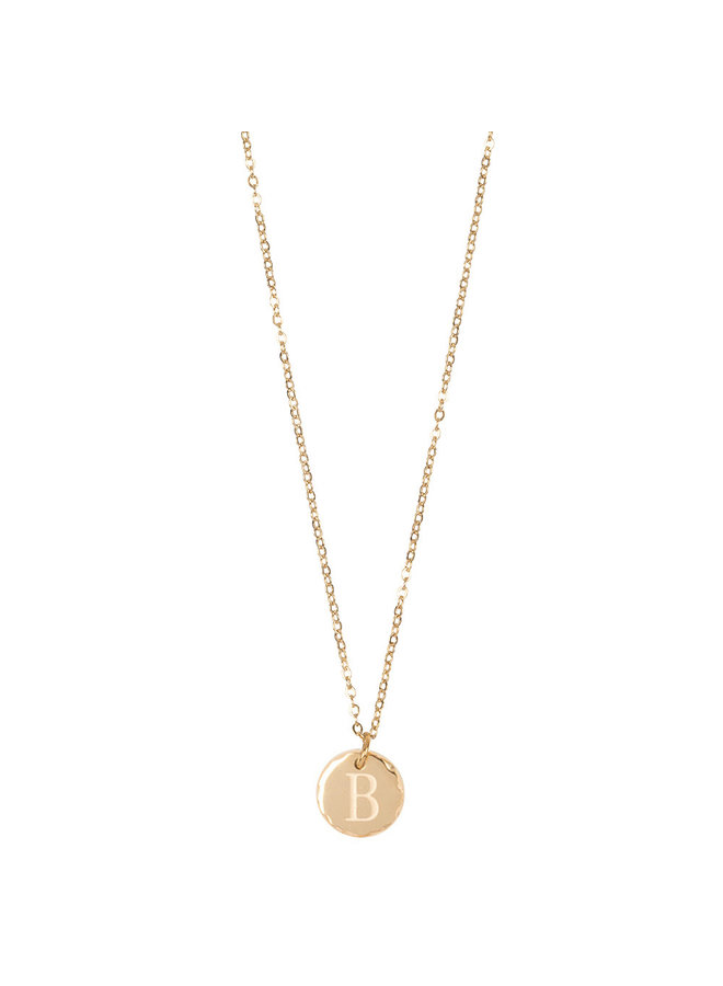 Jozemiek necklace with letter B stainless steel, 14k gold plating with free month stone