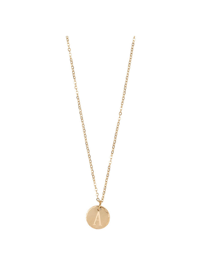 Jozemiek necklace with letter A stainless steel, 14k gold plating with free month stone