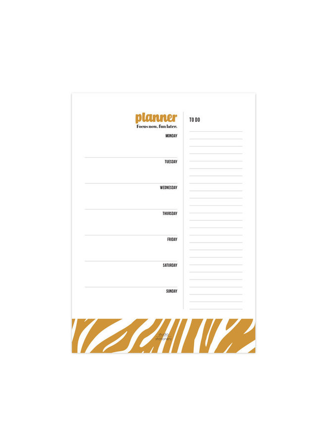 Studio Stationery - A4 Noteblock weekly planner Focus now Oker,