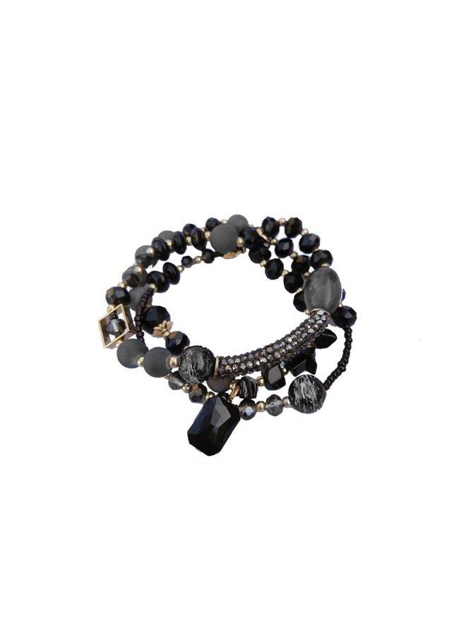 Armband Set schwarz glänzend