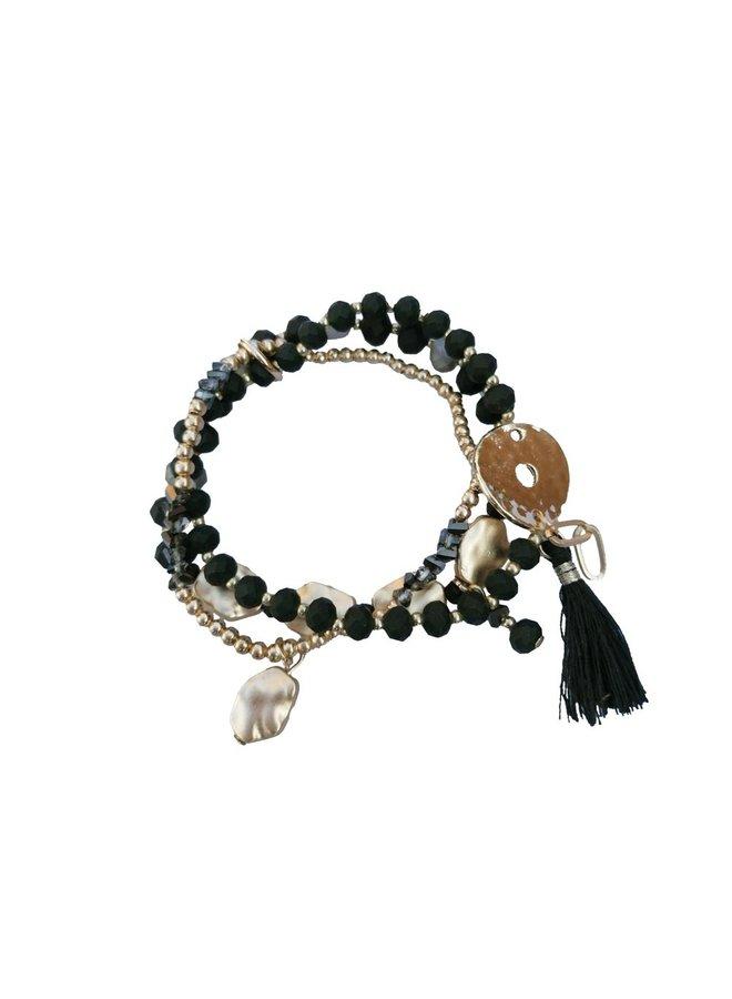 Flat knot bracelet set - black