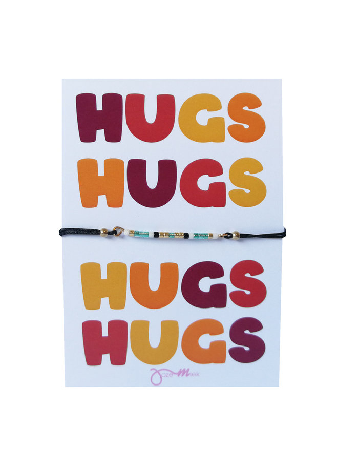 """beaded bracelet with free """"HUGS ..."""" quote card"""
