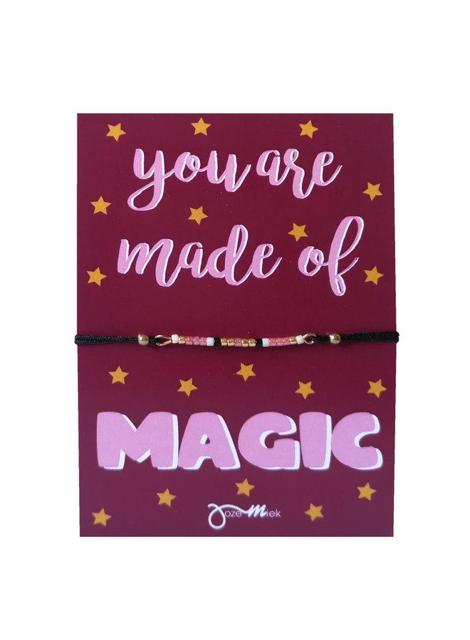 """kralen armbandje met gratis """"Magic""""  quote kaartje"""