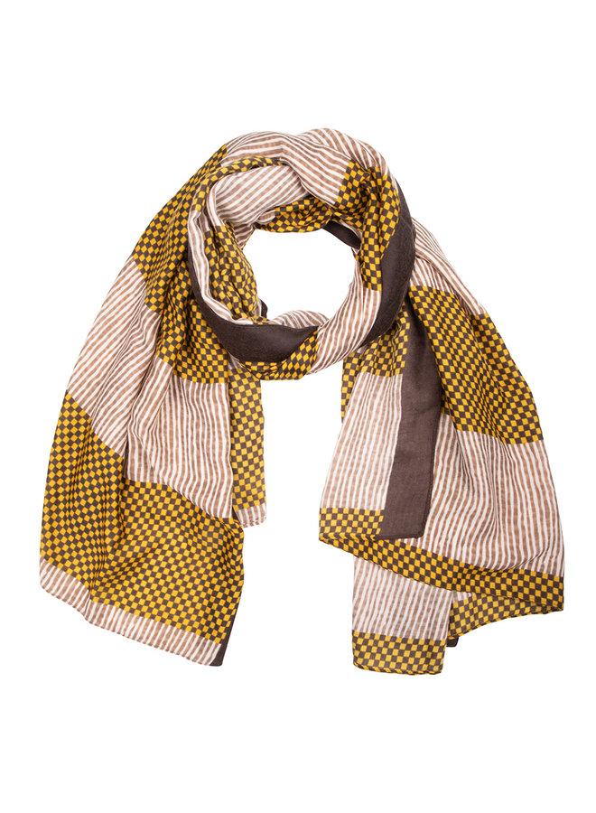 Sjaal  ruitjes- oker