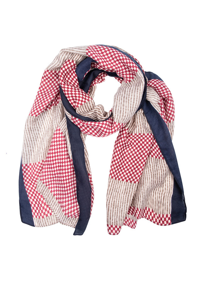 Scarf checkered- red