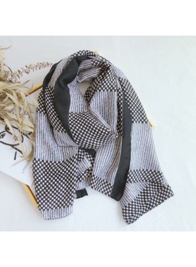 Scarf checked - black
