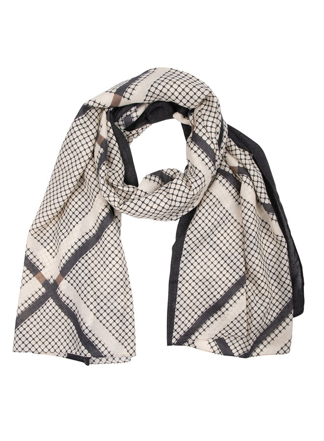 Scarf check taupe blue