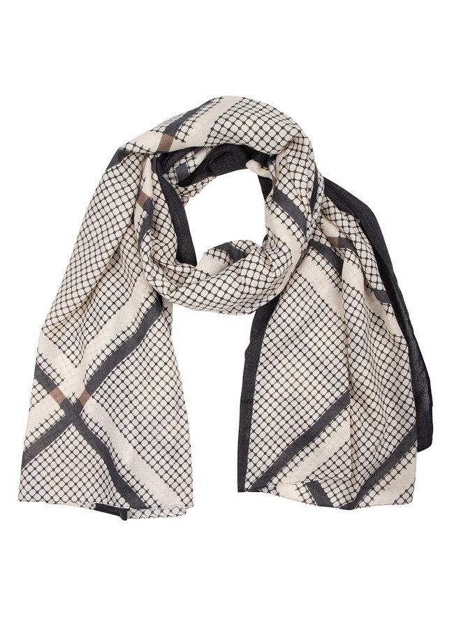 Sjaal ruit taupe- blauw