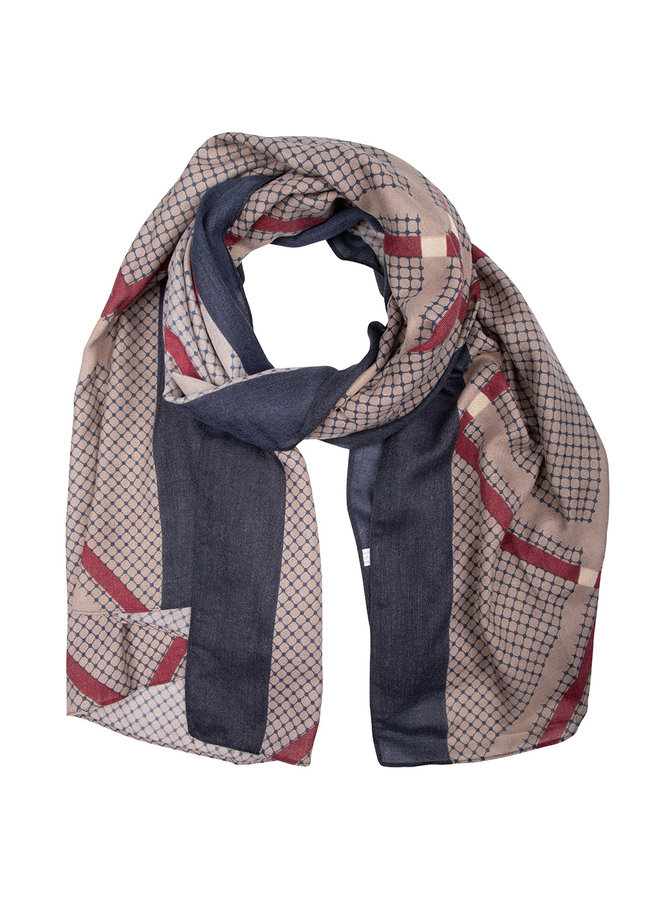 Scarf check beige-blue-red