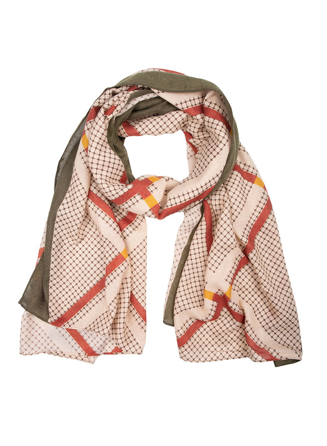 Scarf check beige-green-red