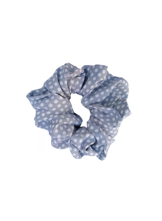 Scrunchie Stippen grijs blauw
