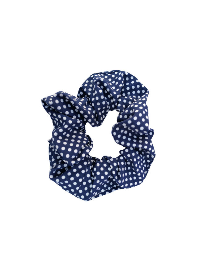 Scrunchie Stippen donker blauw