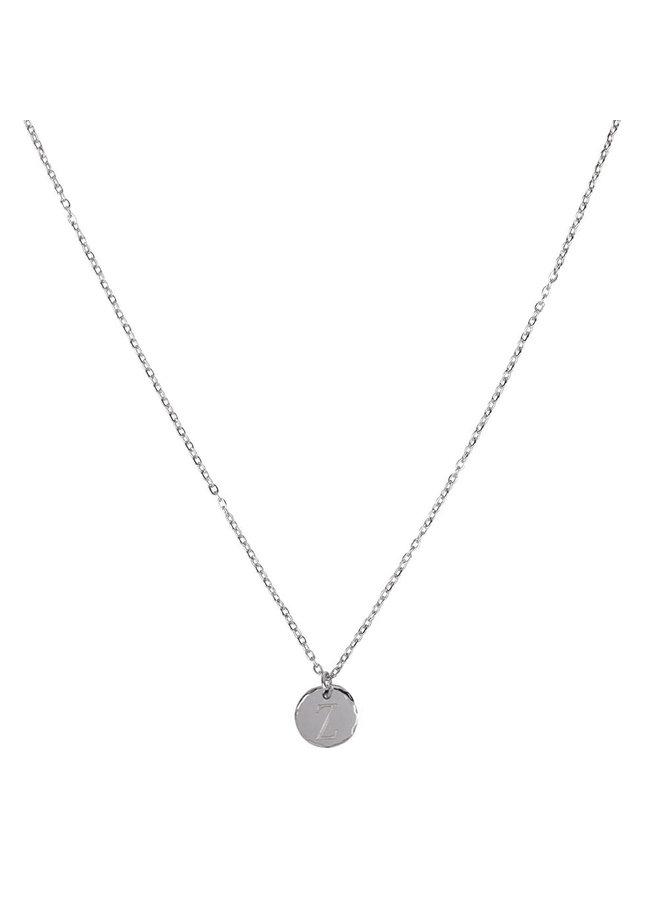 Halskette mit Buchstabe Z Edelstahl, Silber