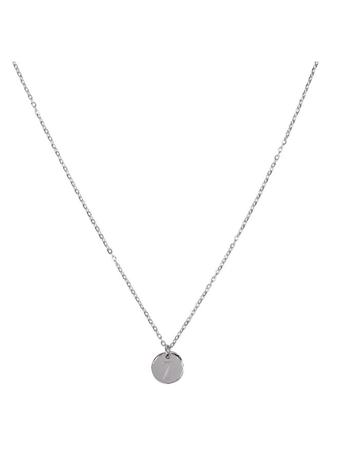 Necklace with letter Z stainless steel, silver