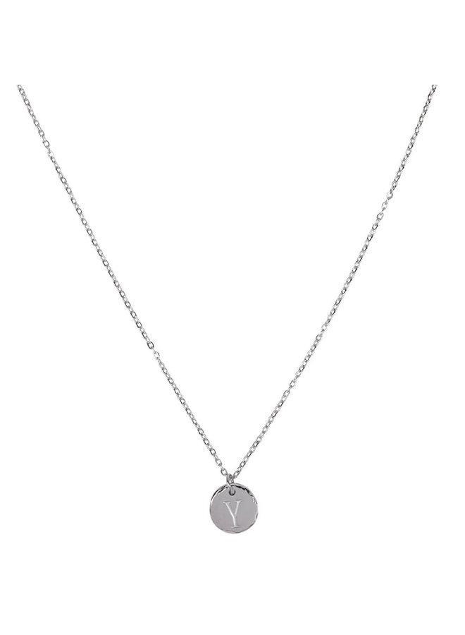 Halskette mit Buchstabe Y Edelstahl, Silber