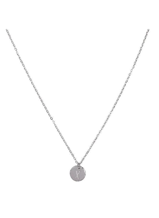 Halskette mit Buchstabe X Edelstahl, Silber
