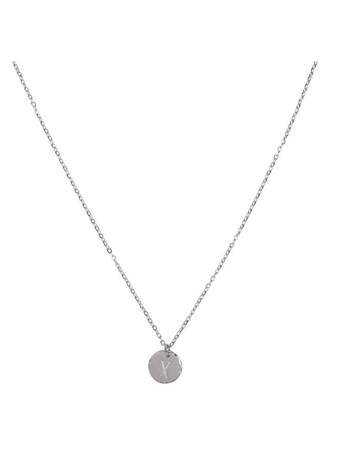 Jozemiek necklace with letter X stainless steel, silver
