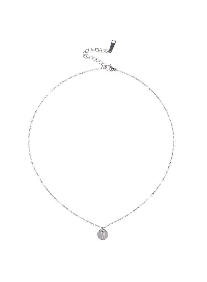 Jozemiek Halskette mit Buchstabe W Edelstahl, Silber