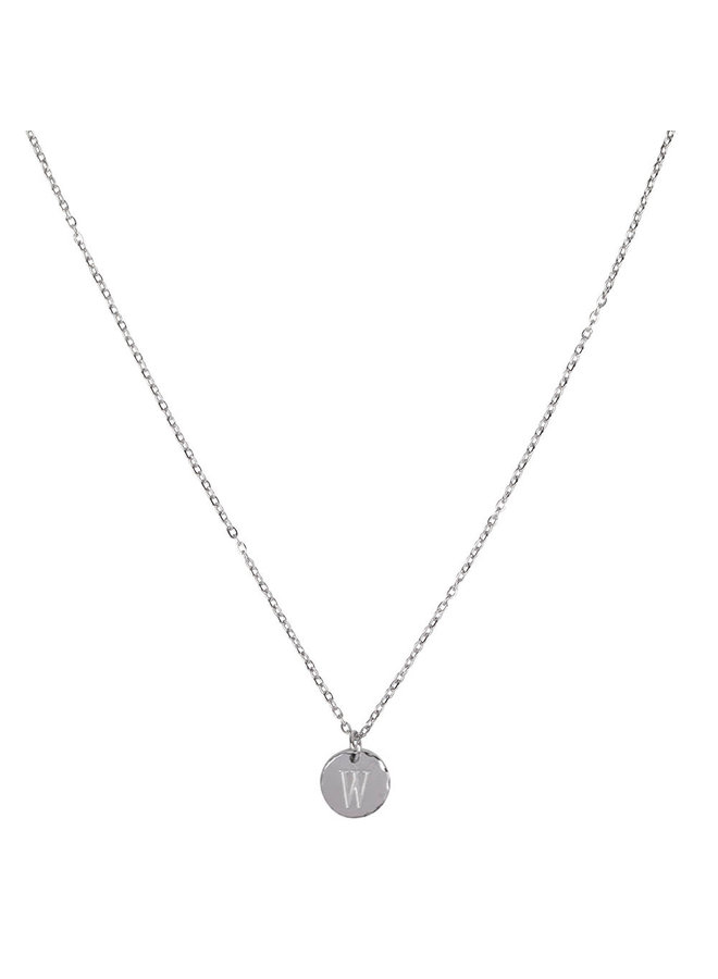 Ketting met letter W stainless steel,  zilver