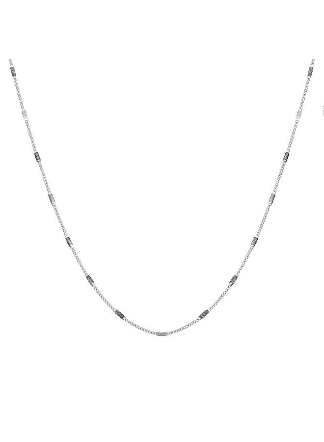 Jozemiek ketting met letter E stainless steel, zilver