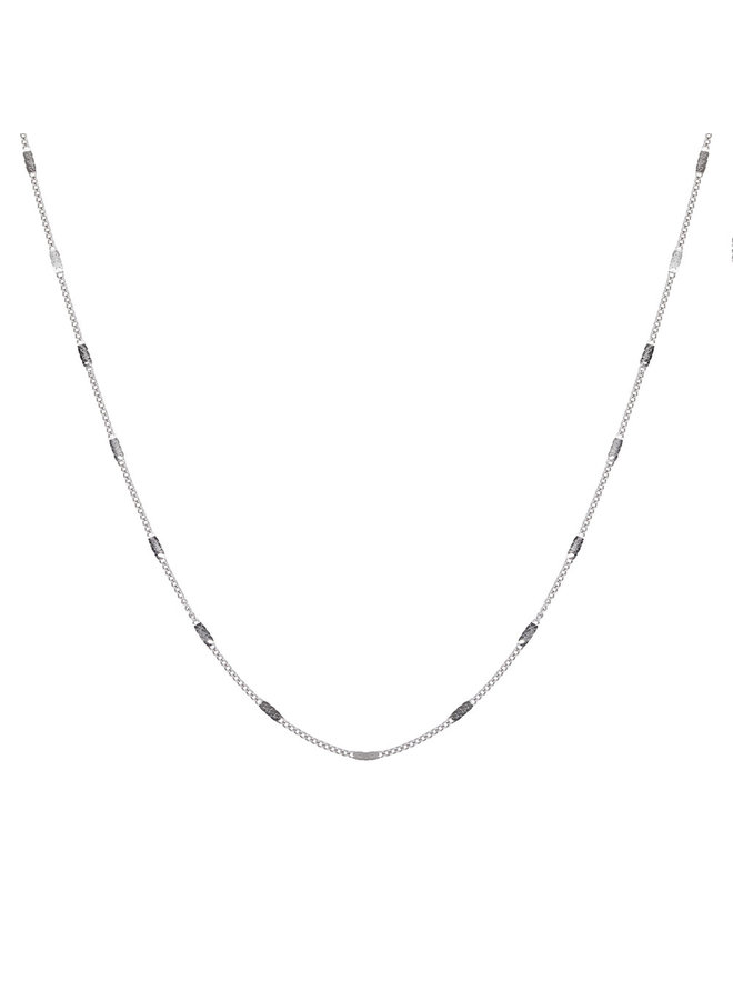 Jozemiek ketting met letter F stainless steel, zilver