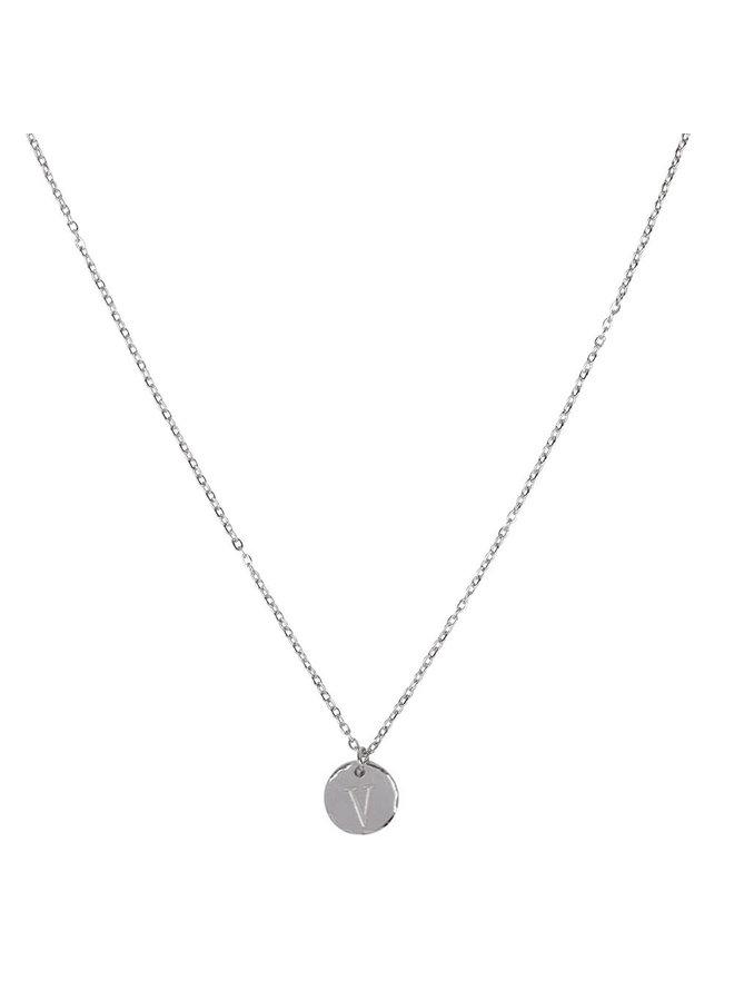 Ketting met letter V stainless steel,  zilver
