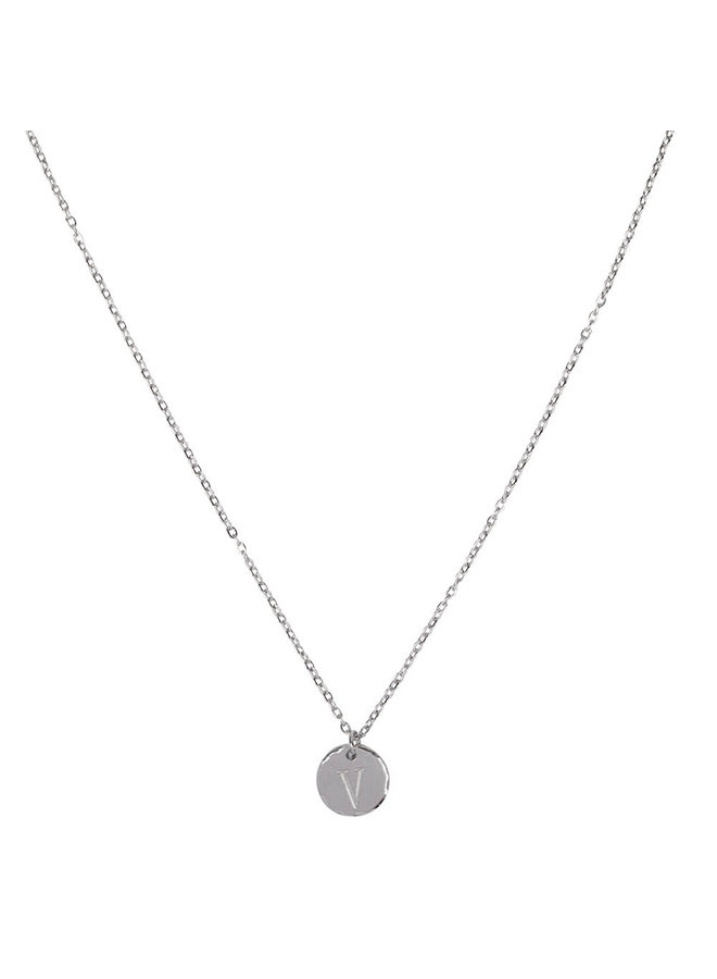 Necklace with letter V stainless steel, silver