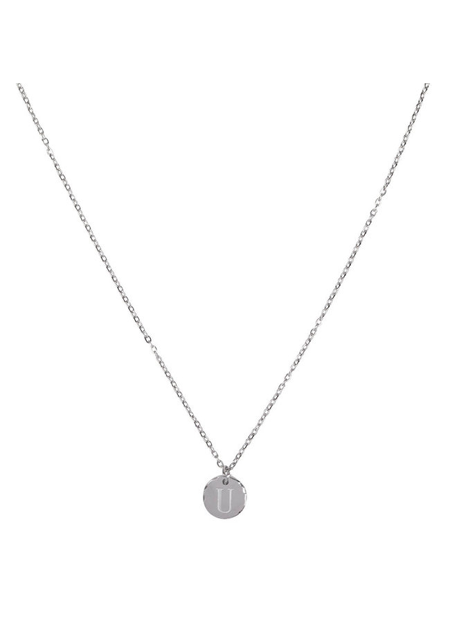 Necklace with letter U stainless steel, silver