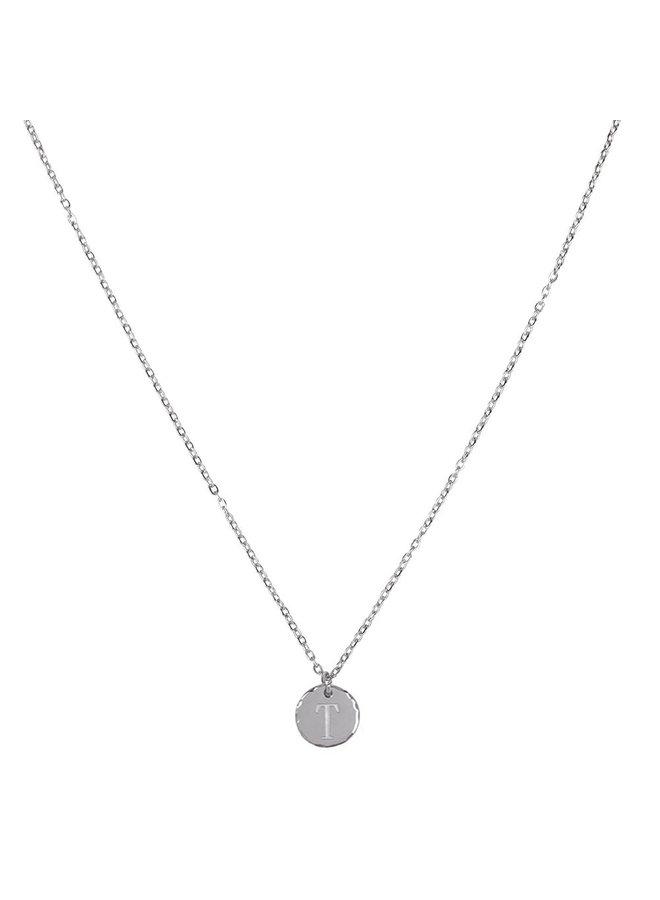 Halskette mit Buchstabe T Edelstahl, Silber