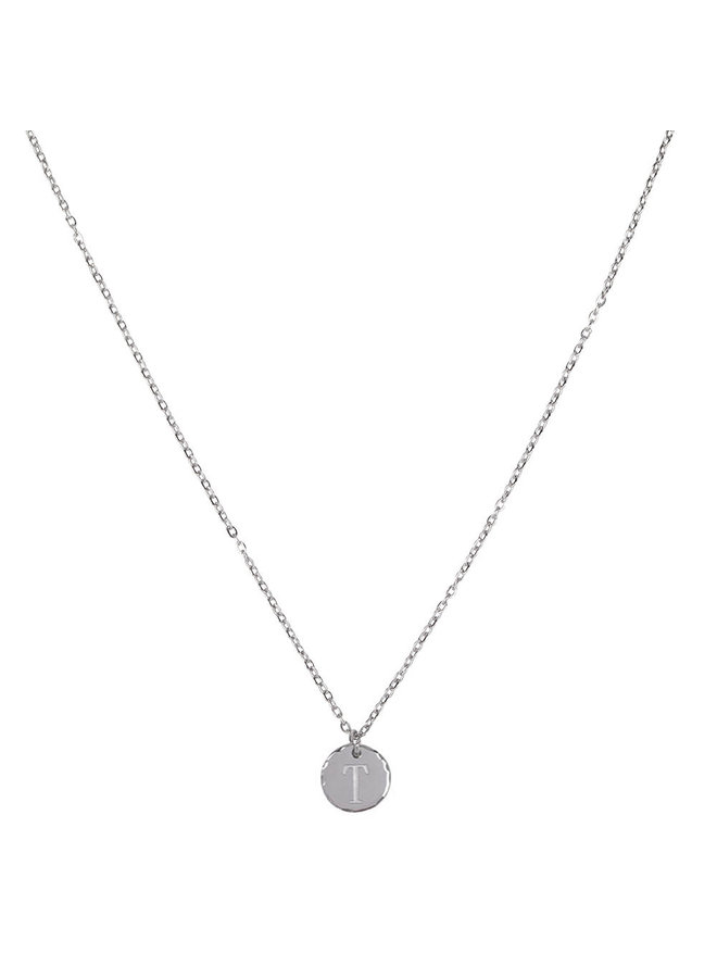 Necklace with letter T stainless steel, silver