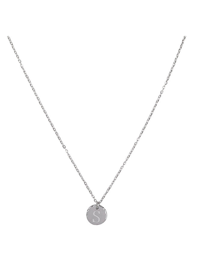 Necklace with letter S stainless steel, silver