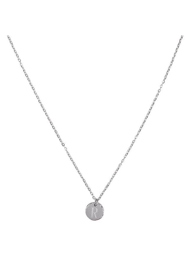 Halskette mit Buchstabe R Edelstahl, Silber