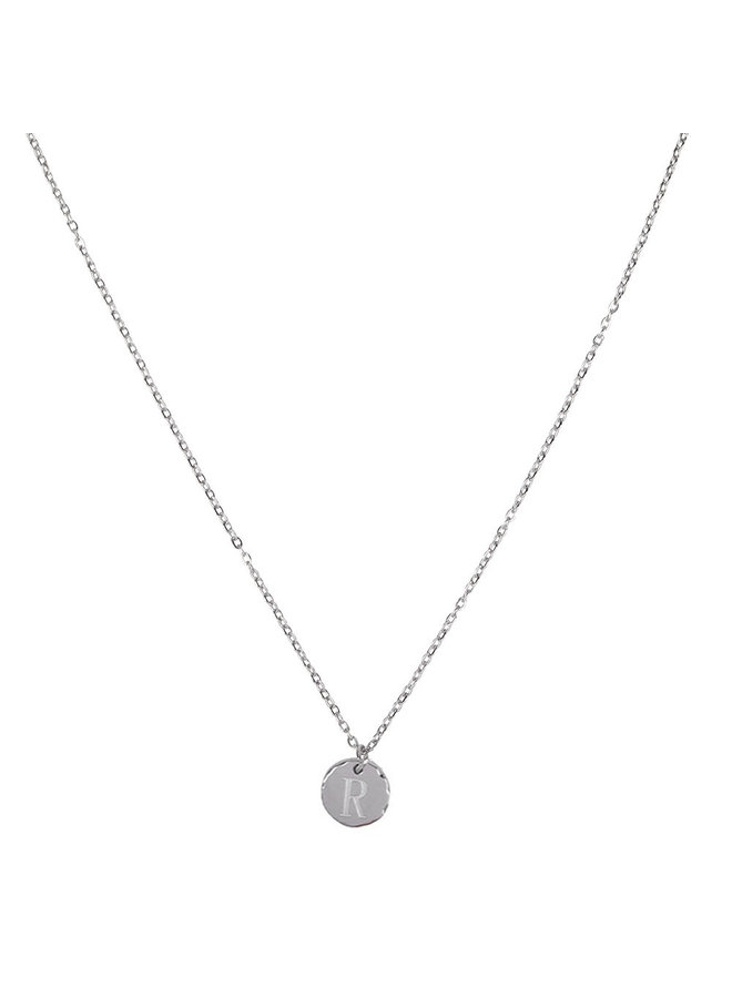 Necklace with letter R stainless steel, silver