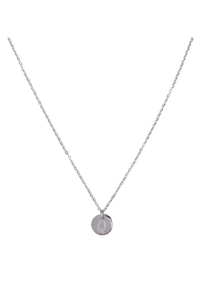 Halskette mit Buchstabe Q Edelstahl, Silber