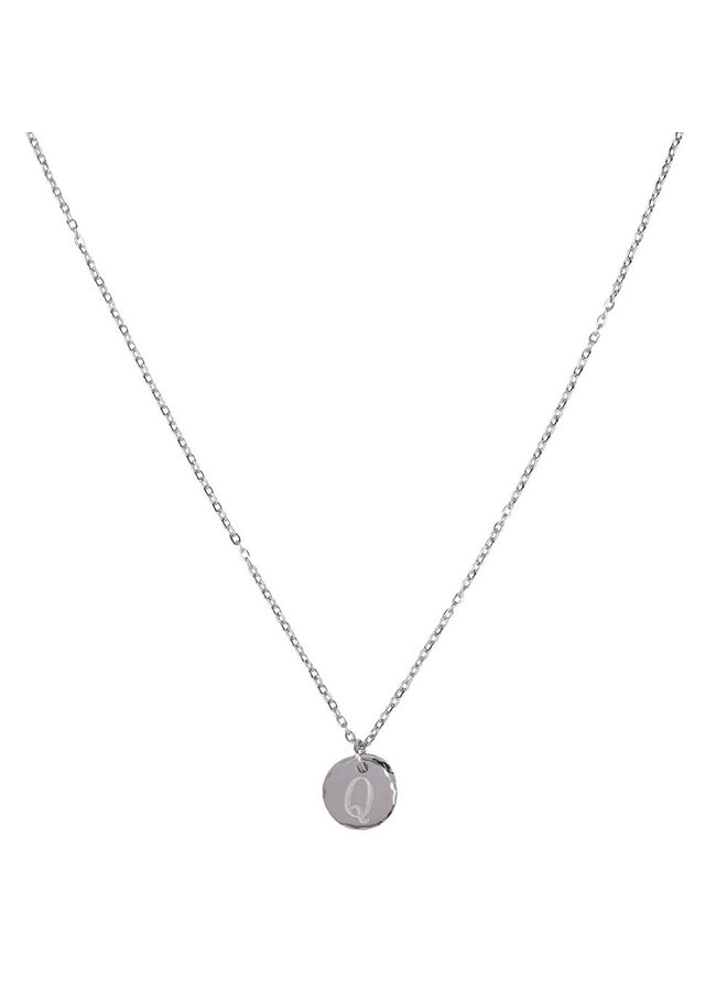 Necklace with letter Q stainless steel, silver