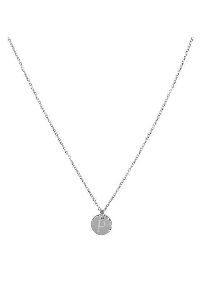 Halskette mit Buchstabe P Edelstahl, Silber