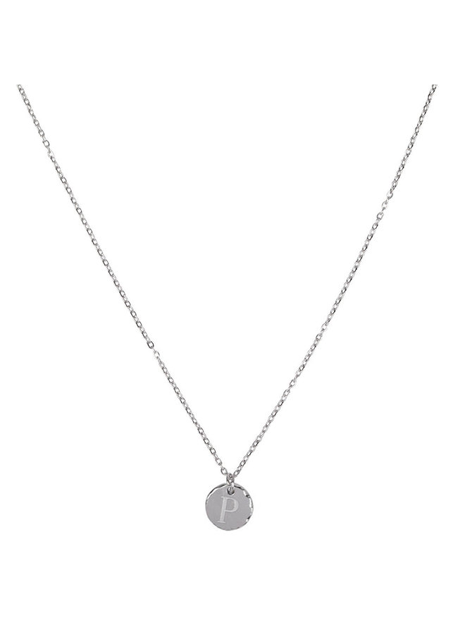 Necklace with letter P stainless steel, silver