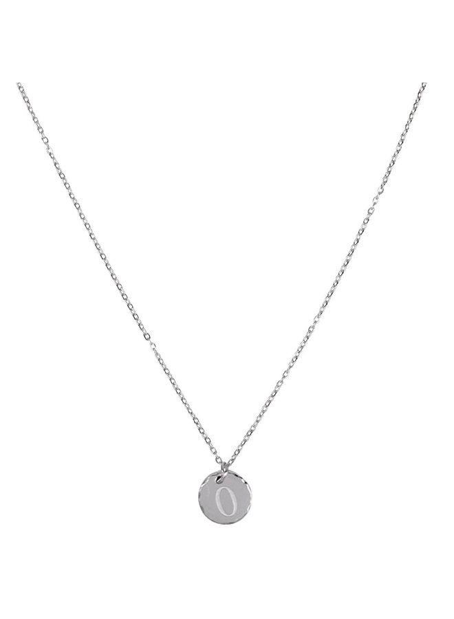 Halskette mit Buchstabe O Edelstahl, Silber