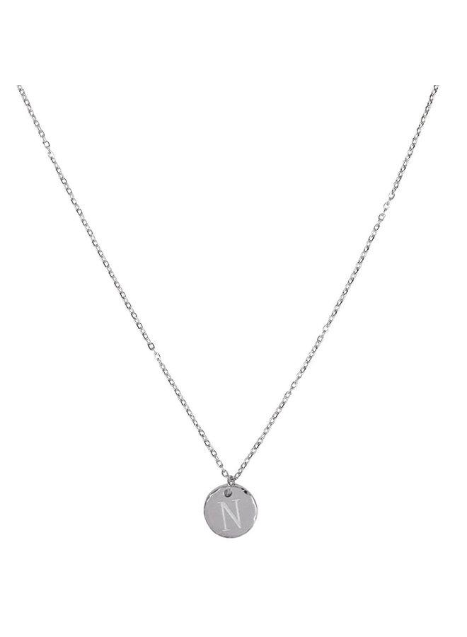Halskette mit Buchstabe N Edelstahl, Silber