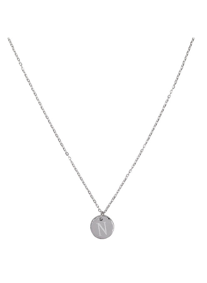 Necklace with letter N stainless steel, silver