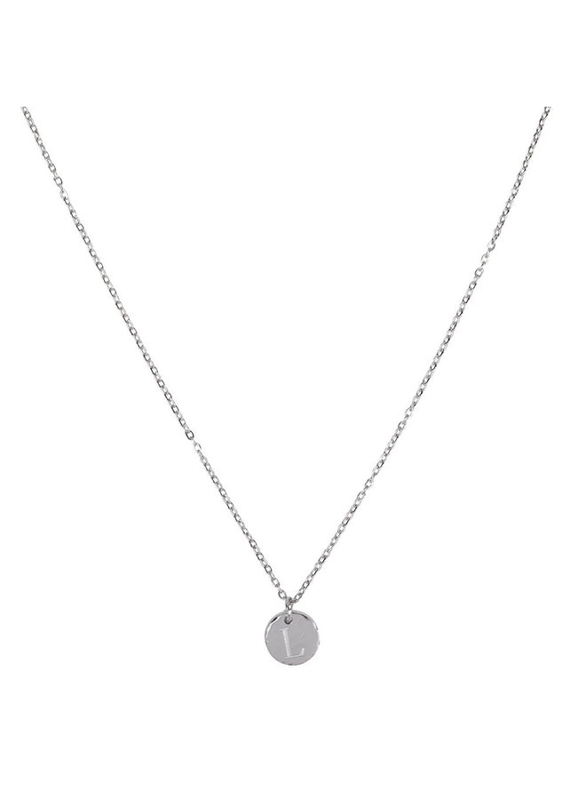 Necklace with letter L stainless steel, silver