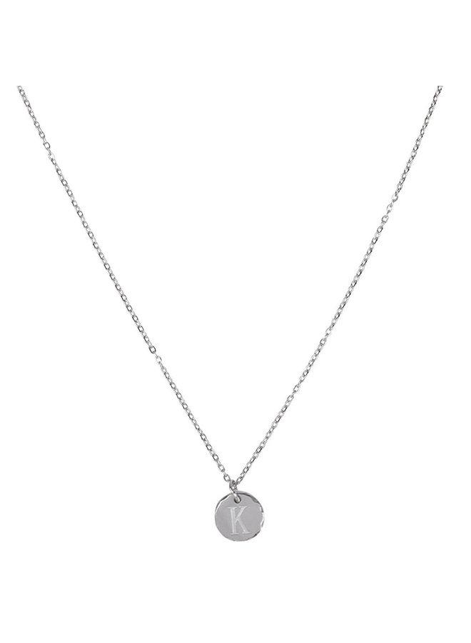 Halskette mit Buchstabe K Edelstahl, Silber