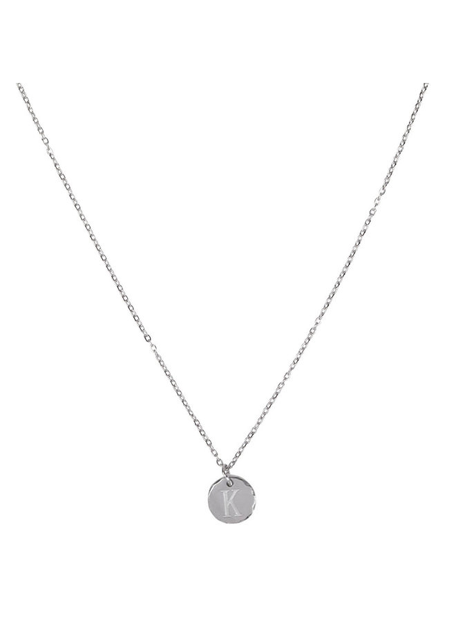 Necklace with letter K stainless steel, silver
