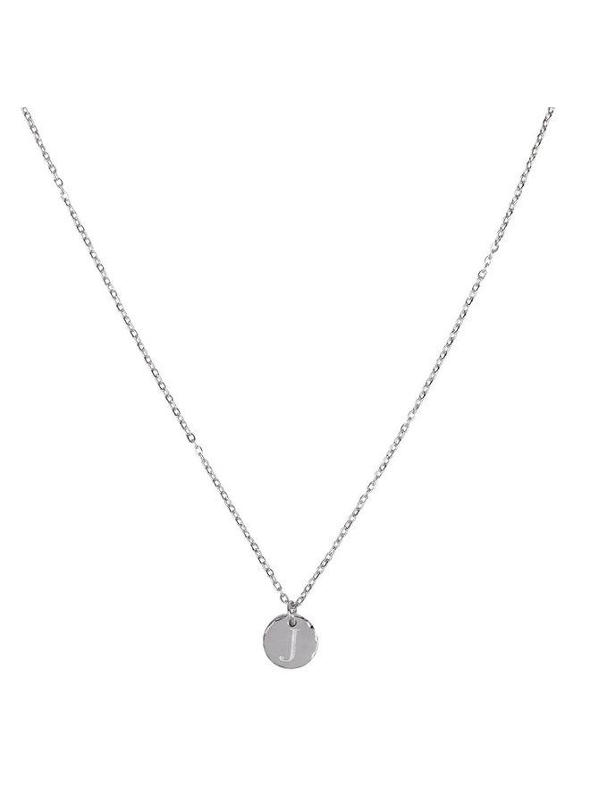Halskette mit Buchstabe J Edelstahl, Silber