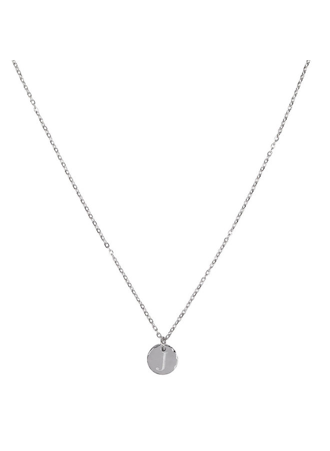 Necklace with letter J stainless steel, silver