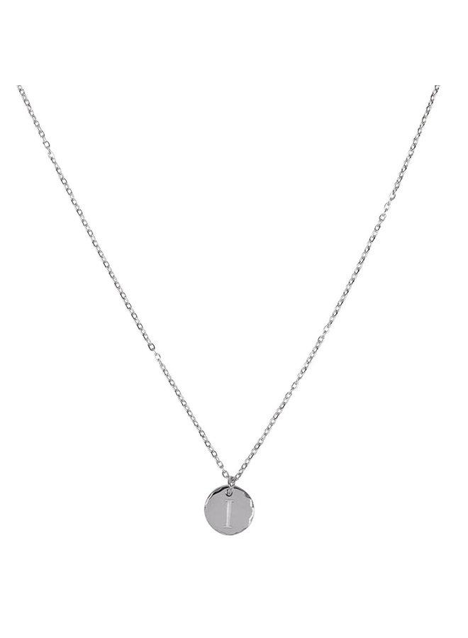 Halskette mit Buchstabe I Edelstahl, Silber
