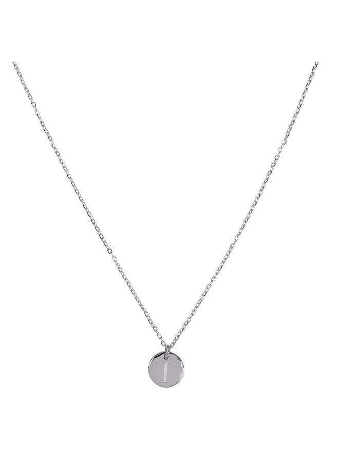 Necklace with letter I stainless steel, silver